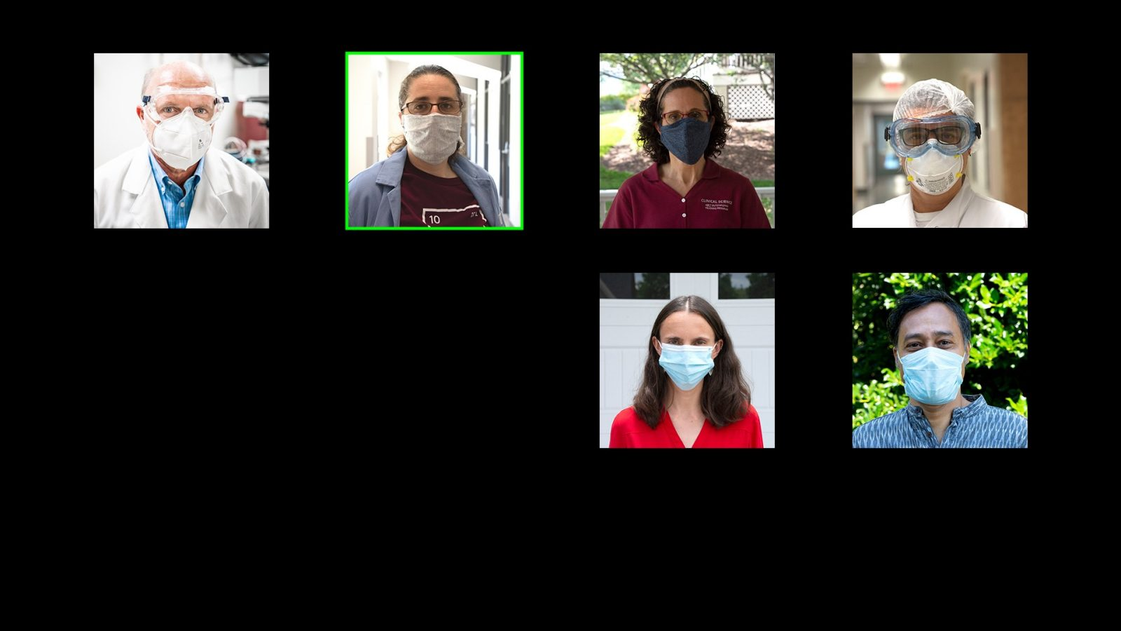 six faculty members in masks are shown in squares to resemble a Zoom meeting