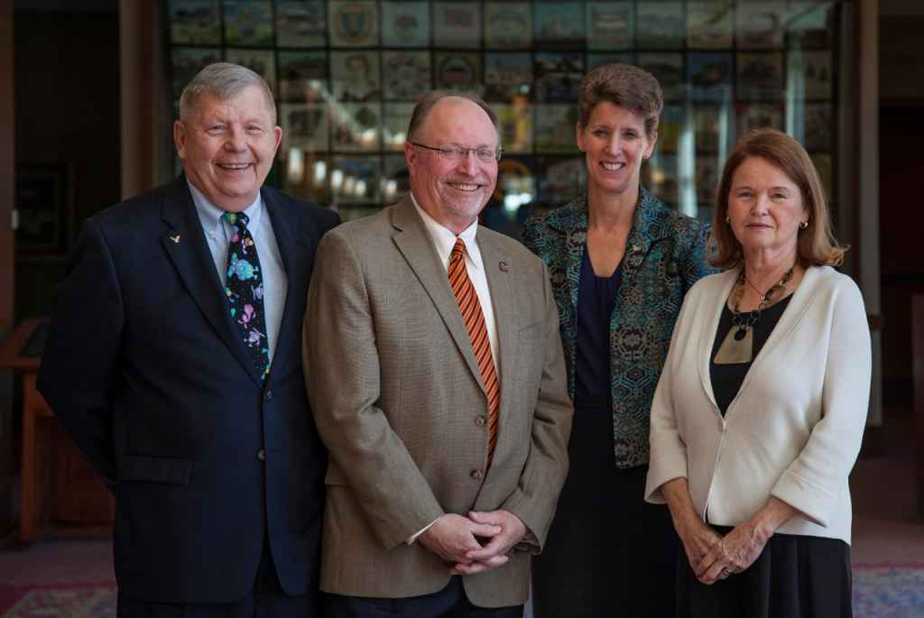 image of (from left to right) Roger K. Crouch, Jerry L. Hulick, Dean Sally C. Morton, and A. Carole Pratt