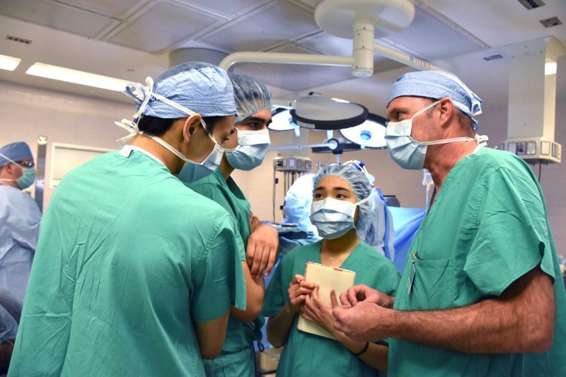 Students inside operating room