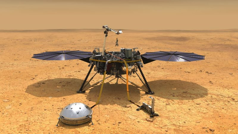 An artist's rendering of the InSight lander on Mars.