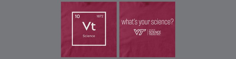 "front and back views of ""science"" element tshirt with the words ""what's your science?"" on the back"